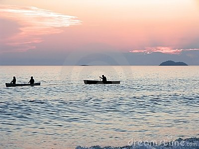 Canoeists at Sunset