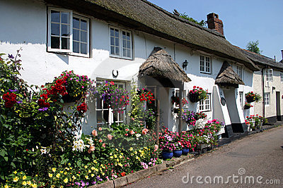 Whitewashed thatched cottages