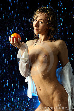 The girl with an orange