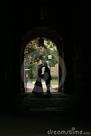 Silhouette of a couple on their wedding day