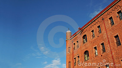 Brick building and clear sky