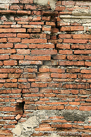 cracked old red Brick wall vertical background