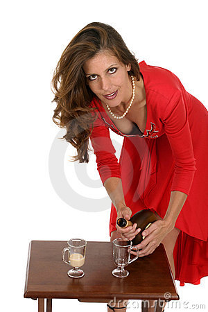 Woman In Red Dress Pouring Drinks