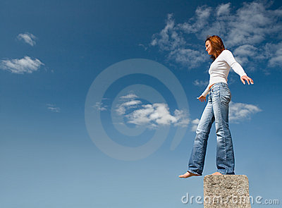 Girl balancing above a precipice-2