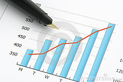 Close-up shot of a pen on chart