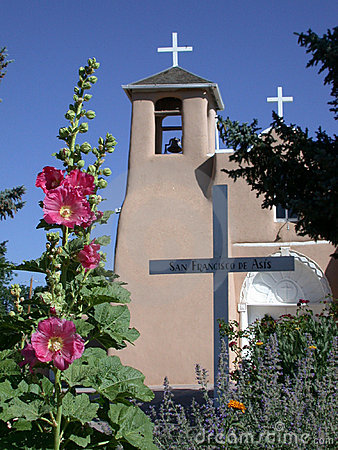 St. Francis of Asisi Catholic Church with Hollyhocks