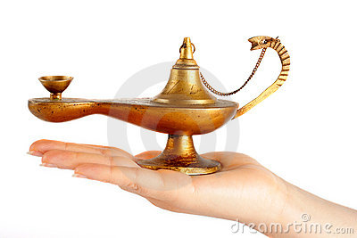 Old brass oil lamp on the hand