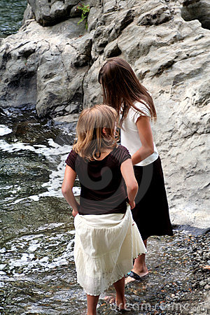 Children on river bank