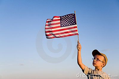 American flag and boy