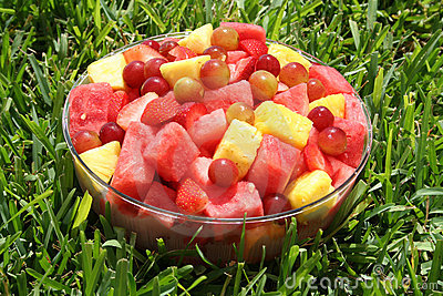 Fresh fruits on the grass