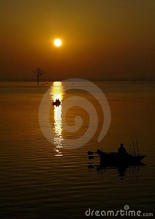 Sunrise over fishing boats