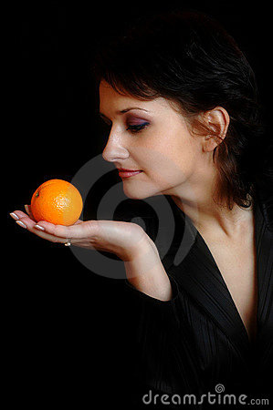 With an orange
