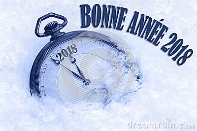 Happy New Year 2018 greeting in French language, bonne annee text, pocket watch