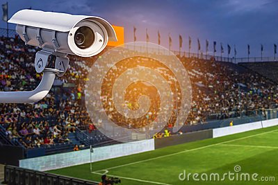 CCTV or closed circuit television security system in stadium surveillance camera operating