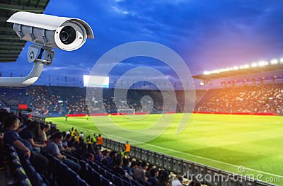 CCTV or closed circuit television security system in stadium
