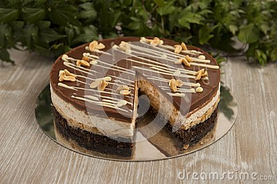 Chocolate cake with peanuts, snickers cake