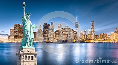 The Statue of Liberty with Lower Manhattan background in the evening, Landmarks of New York City
