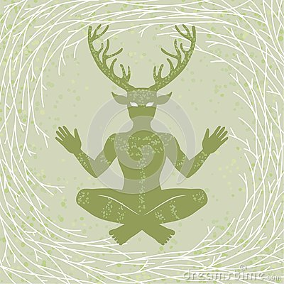 Silhouette of the sitting horned god Cernunnos. Mysticism, esoteric, paganism, occultism.