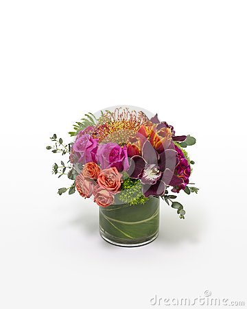 Colorful mixed flower arrangement with a modern design.