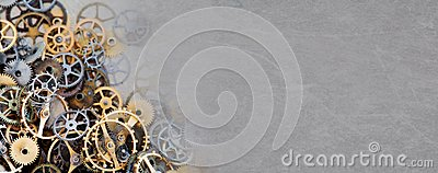 Cog gear wheel mechanic machinery ornament on vintage textured paper background. Retro technology parts closeup, aged
