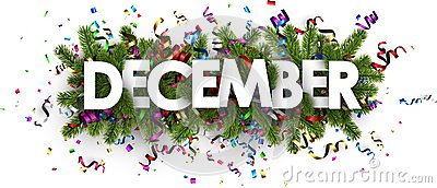 Festive december banner with colorful serpentine.