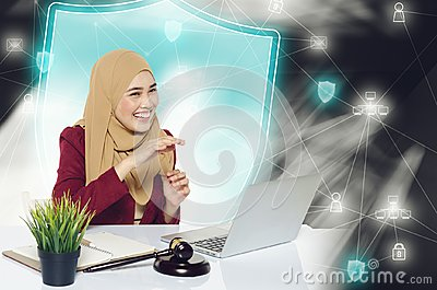 Happy face expression young women sitting in front her laptop over abstract background.