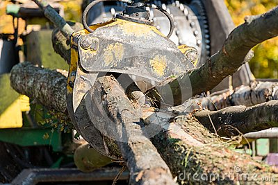 Industrial wood chipper in action