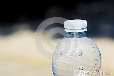Platic water bottle with plastic stopper - image with copy space