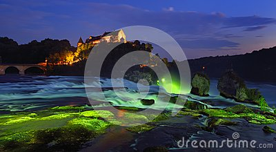 Rhine Falls at the blue hour
