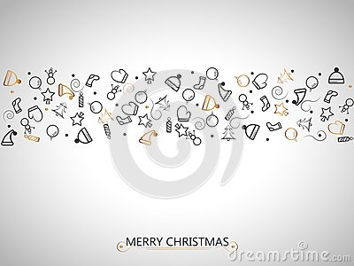 Christmas red and black elements on gold background for wrapping, invitation card or other banners. Vector illustration EPS 10.
