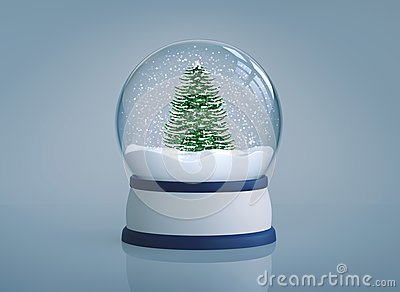 Snow globe with christmas tree on blue background