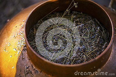 Copper bowl used for distillation to produce lavender essential oil.