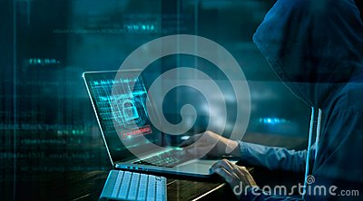Cyber attack or computer crime hacking password
