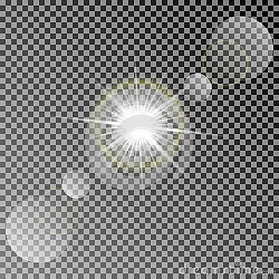 Shining vector sun with colorful light effects. Transparent vector sun light with bokeh isolated on dark background