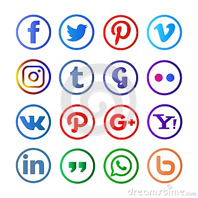 Social media rounded and colorfull