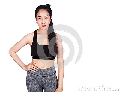 Portrait of fitness young woman isolated on white background