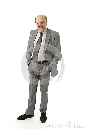 Corporate full body portrait bald 60s happy and confident business posing neat and tidy smiling happy isolated on white