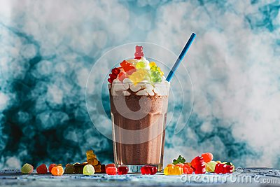 Gummy Candies, Flowers and Chocolate Milkshake