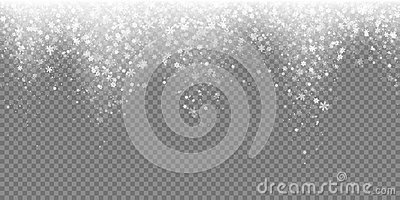 Falling snow flake pattern background. White cold snowfall overlay texture isolated on transparent background. Winter Xmas snowfla