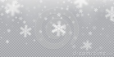Falling snowflake pattern background of white cold snowfall overlay texture on transparent background. Winter Xmas snow f