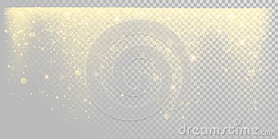 Christmas holiday golden glitter snow or sparkling gold confetti on white background template. Vector golden particles light shine