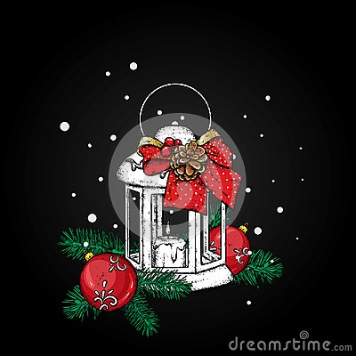 Beautiful vintage lantern with a candle. Vector illustration. Festive postcard. New Year`s and Christmas. A bow and a bump.