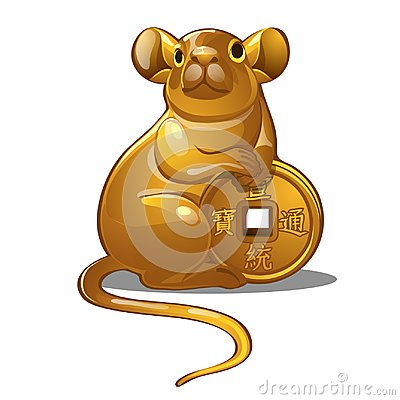 Golden figure of mouse. Chinese horoscope symbol