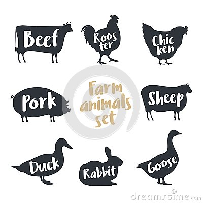 Set of farm animals with sample text. Silhouettes hand drawn animals: cow, rooster, chicken, sheep, pig, rabbit, duck, goose.
