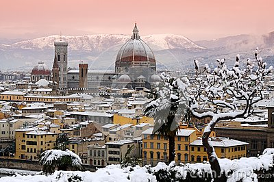 Beautiful cityscape with snow of Florence during winter season. Cathedral of Santa Maria del Fiore.