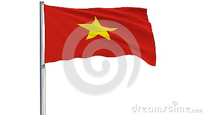 Isolate flag of Vietnam on a flagpole fluttering in the wind on a white background, 3d rendering.
