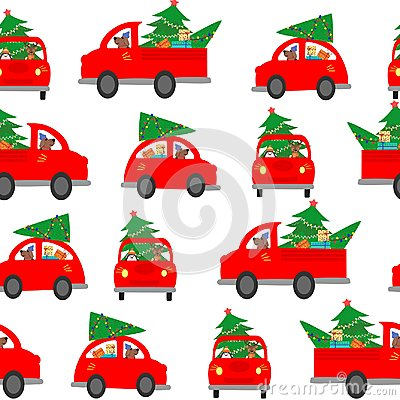 Seamless background, pattern. The car carries a Christmas tree to decorate the house. Colorful vector illustration for the winter
