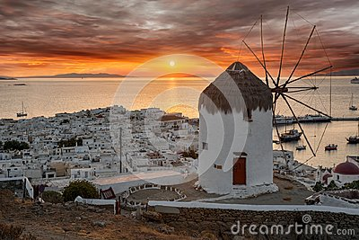 Dreamy sunset over Mykonos town, Cyclades, Greece