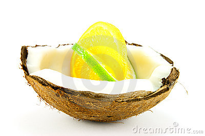 Lemon and Lime Slice in a Coconut