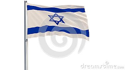 Isolate flag of Israel on a flagpole fluttering in the wind on a white background, 3d rendering.
